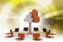 Cloud computing with computer network Royalty Free Stock Images