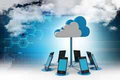 Cloud computing with smart phone vector illustration
