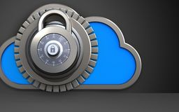 3d safe cloud. 3d illustration of cloud with lock over black background Stock Photos
