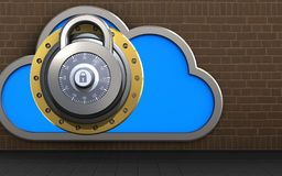 3d lock lock. 3d illustration of cloud with lock over bricks background Royalty Free Stock Image