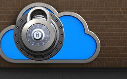 3d lock lock. 3d illustration of cloud with lock over bricks background Stock Photography