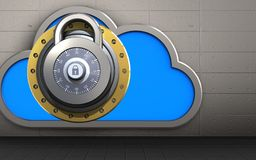 3d cloud lock. 3d illustration of cloud with lock over iron wall background Stock Photo
