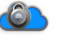 3d lock lock. 3d illustration of cloud with lock over white background Royalty Free Stock Image