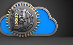 3d locked vault door cloud. 3d illustration of cloud with locked vault door over black background Stock Photos