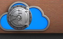 3d safe cloud. 3d illustration of cloud with steel bank door over red bricks background Stock Photos