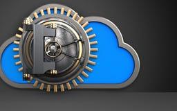 3d vault door safe. 3d illustration of cloud with vault door over black background Stock Photos