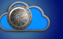 3d vault door vault door. 3d illustration of cloud with vault door over blue background Royalty Free Stock Photography