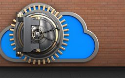 3d cloud safe. 3d illustration of cloud with vault door over red bricks background Royalty Free Stock Images