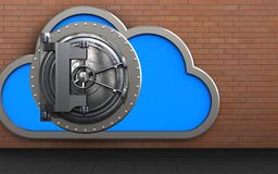 3d vault door vault door. 3d illustration of cloud with vault door over red bricks background Stock Photo