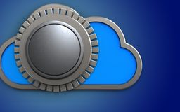 3d vault door blank template safe. 3d illustration of cloud with vault door  template over blue background Royalty Free Stock Photography
