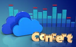 3d clouds concert sign. 3d illustration of clouds over blue gradient background with concert sign Stock Image