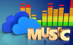 3d audio spectrum music sign. 3d illustration of clouds over blue gradient background with music sign Royalty Free Stock Image