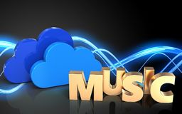 3d blank clouds. 3d illustration of clouds over sound wave black background with music sign Royalty Free Stock Photo