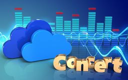 3d spectrum spectrum. 3d illustration of clouds over sound wave blue background with concert sign Stock Images