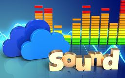 3d audio spectrum clouds. 3d illustration of clouds over sound wave blue background with 'sound' sign Royalty Free Stock Images