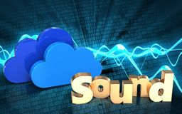 3d blank 'sound' sign. 3d illustration of clouds over sound wave digital background with 'sound' sign Royalty Free Stock Photography