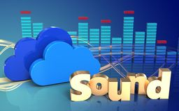 3d clouds spectrum. 3d illustration of clouds over wave blue background with 'sound' sign Royalty Free Stock Photo