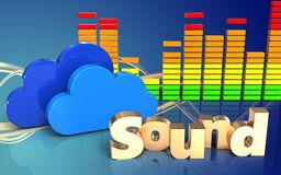 3d 'sound' sign 'sound' sign. 3d illustration of clouds over wave blue background with 'sound' sign Stock Photography