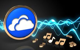 3d blank blank. 3d illustration of clouds symbol over sound wave black background with notes Royalty Free Stock Images