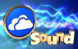 3d clouds symbol blank. 3d illustration of clouds symbol over sound waves blue background with 'sound' sign Royalty Free Stock Image