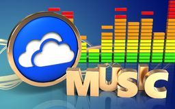 3d music sign music sign. 3d illustration of clouds symbol over wave blue background with music sign Stock Photo