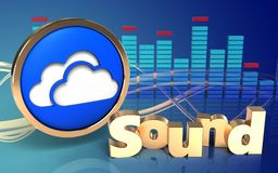 3d clouds symbol 'sound' sign. 3d illustration of clouds symbol over wave blue background with 'sound' sign Royalty Free Stock Images