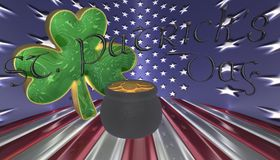 A clover with a pot of gold. Symbols for Saint Patricks day isolated against a flag of America stock illustration