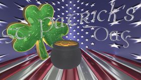 A clover with a pot of gold. Symbols for Saint Patricks day isolated against a flag of America royalty free illustration