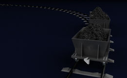 3D Illustration of a Coal trolleys on dark Royalty Free Stock Photo