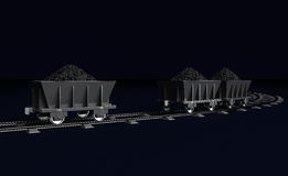 3D Illustration of a Coal trolleys on dark Royalty Free Stock Image