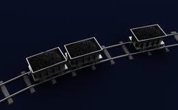 3D Illustration of a Coal trolleys on dark Stock Photo