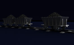 3D Illustration of a Coal trolleys on dark Royalty Free Stock Photography