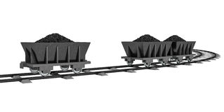 3D Illustration of a Coal trolleys - Isolated on white Stock Photo