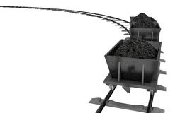 3D Illustration of a Coal trolleys - Isolated on white Royalty Free Stock Images