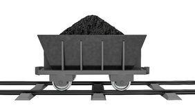 3D Illustration of a Coal trolleys - Isolated on white Stock Images