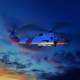 3d illustration of coast guard helicopter in blue sunset sky. Royalty Free Stock Photography