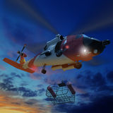 3d illustration of Coast guard helicopter lowering a rescue bask. Et during for rescue flying royalty free illustration
