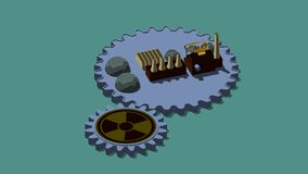 3D illustration of cogs, of the gear with sign of radiation and the plant. The idea of nuclear power development and economic. Growth. 3D rendering royalty free illustration