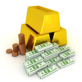 3D Illustration of coins, gold bars and a pile of one hundred do Stock Photography