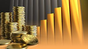3d golden coins. 3d illustration of coins over golden charts background with golden coins Stock Photo