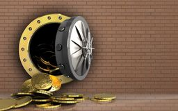 3d coins over bricks wall. 3d illustration of coins storage over bricks wall background Royalty Free Stock Photos
