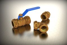 3d illustration of color ball valves Stock Photo