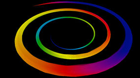 3D illustration of colored circle lines. On black background vector illustration