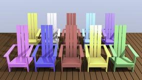 Colorful Adirondack chairs. 3D illustration colorful Adirondack chairs with outdoor balcony Stock Illustration