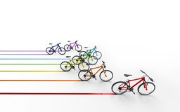 3d illustration. Colorful bikes moving for the leader leaving a. Colored trail isolated on white background Royalty Free Stock Images