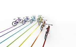3d illustration. Colorful bikes moving for the leader leaving a. Colored trail isolated on white background Stock Photography