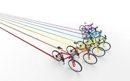 3d illustration. Colorful bikes moving for the leader like arrow. Sign leaving a colored trail . Leadership concept Stock Photos