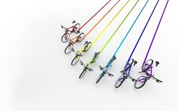 3d illustration. Colorful bikes moving for the leader like arrow. Sign leaving a colored trail  on white background Stock Image