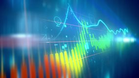 Shifting business line chart. 3d illustration of a colorful business line chart presented diagonally with a choppy index having soaring and plummeting periods in Stock Images