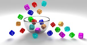 3d illustration,colorful dice on glass bowl stock illustration